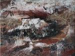 Timanfaya I,  Naturmaterial, Pigmente,  45 x 60 cm