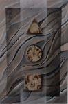Elements of Life -  63,5 x 43    Raku und Acryl auf Holz im Schattenfugenrahmen - 180,- Euro