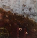 Fluß der Zeit - 100 x 100 - Acryl und Mixed Media auf Leinwand im Schattenfugenrahmen - 500,- Euro