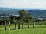 Kunst an der Abtei St. Hildegard mit Blick auf den Rhein und Rheinhessen/art objects at St. Hildegard