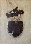 Fundstücke vom Straßenrand, 2018. Rostblech, Gips auf Holz; ca. 61,5 x 44 x 4 cm.       Foto: Barbara Oswald