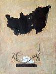 Fundstücke vom Straßenrand, 2017. Rostblech, Gips auf Holz; ca. 71 x 55 x 4 cm.       Foto: Barbara Oswald