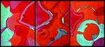 Ohne Titel, 2021. Triptychon zu drei Teilen je 40 x 30 cm; Acrylfarben, Sand, Graphit auf Maltafel. Foto: Barbara Oswald