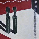 Blockbild Schwarzbach-Raum-reloaded I, 2018, Acryl auf Holz, 32 x 32 x 5 cm