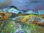 abstrakte Landschaft - 3, 80 x 60 cm, Acrylfarben auf Keilrahmen, signiert und datiert 2019