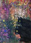 Katzenparadies, 60 x 80 cm, Acrylfarben auf Keilrahmen, signiert und datiert 2020