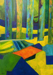 Abstrakte Komposition - 2, 60 x 80 cm, Acrylfarben auf Keilrahmen, signiert und datiert 2021
