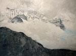 Berglandschaft im Nebel, 60 x 80 cm, Acrylfarben auf Keilrahmen, signiert und datiert 2020