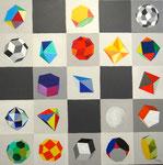 geometrische Körper 1, 100 x 100 cm, Acrylfarben auf Keilrahmen, signiert und datiert 2013