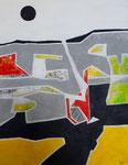 schwarze Sonne, 100 x 80 cm, Acrylfarben auf Keilrahmen, signiert und datiert 2016