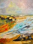 abstrakte Landschaft - 3, 60 x 80 cm, Acrylfarben auf Keilrahmen, signiert und datiert 2021