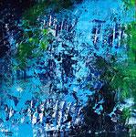 Komposition in blau - 1, 40 x 40 cm, Acrylfarben auf Keilrahmen, signiert und datiert 2018