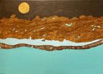 Goldener Mond, 50 x 70 cm, Acrylfarben Keilrahmen, signiert und datiert 2021