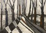 Winterwald, 60 x 80 cm, Acrylfarben auf Keilrahmen, signiert und datiert 2020