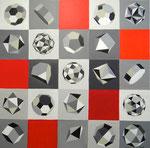 geometrische Körper 2, 100 x 100 cm, Acrylfarben auf Keilrahmen, signiert und datiert 2013