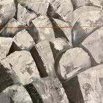 Steinbruch, 60 x 60 cm, Acrylfarben auf Keilrahmen, signiert und datiert 2020
