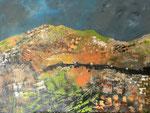 Berglandschaft, 60 x 80 cm, Acrylfarben auf Keilrahmen, signiert und datiert 2021