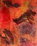 Lava-Landschaft - 1,  40 x 50 cm, Acrylfarben auf Keilrahmen, signiert und datiert 2018