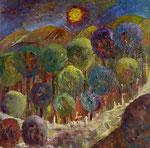 abstrakte Landschaft - 4, 60 x 60 cm, Acrylfarben auf Keilrahmen, signiert und datiert 2019