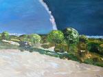 Südliche Landschaft, 60 x 80 cm,  Acrylfarben auf Keilrahmen, signiert und datiert 2021
