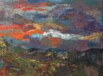 abstrakte Landschaft - 2, 80 x 60 cm, Acrylfarben auf Keilrahmen, signiert und datiert 2019