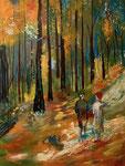Waldspaziergang - 60 x 80 cm, Acrylfarben auf Keilrahmen, signiert und datiert 2019