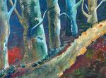 Wald - 2, 60 x 80 cm, Acrylfarben auf Keilrahmen, signiert und datiert 2020