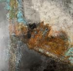 Ursprünglich - 2, 100 x 100 cm, Acrylfarben und Rost auf Keilrahmen, signiert und datiert 2020