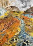 Vulkanlandschaft - 2, 50 x 70 cm, Acrylfarben auf Keilrahmen, signiert und datiert 2020
