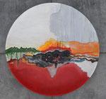 """""""Verte"""" acryl op houten schaal / diameter 70 cm"""