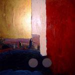 """""""Ik en de wereld"""" 90 × 90 cm (verkocht)"""