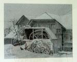 60x80cm  Mühle im Winter