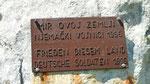 """danke an Deutschland """"Gedenktafel an den schrecklichen Krieg"""""""