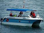 Eines der Boote des PADI Resort