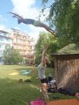 Training auf der Hotelwiese im Hotel Perla Beach