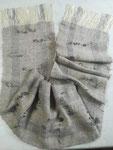 Schal aus Alpaka/Seide handgesponnen mit Gotlandschaflocken eingewoben