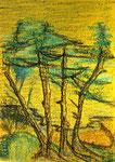 Bäume in Gelb-Grün 20x30cm 1995 Pastell auf Papier
