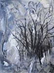 winterlicher Baum 30x40cm 2011 Acryl mit Materialien