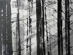 schwarz-weißer Wald 40x30cm 2010 Acryl
