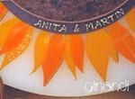 Hochzeitskerze, Halbmond, Sonnenblume, Detail