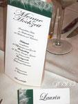 Menü-Säule Hochzeit und Tischkarten
