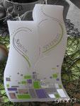 Hochzeitskerze, geschwungen, Mosaik mit Silberfädenherz