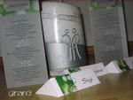 Hochzeit-Gesamt-Paket: Kerze, Tischkarten und Menü-Säule, transparent