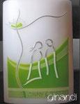 Hochzeitskerze, ovale Fischform, Paar im Grünen II