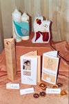 Sammlungsbeispiel, Karten und Kerzen, rose/weiß