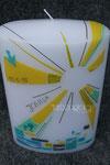 Taufkerze Fischform, Sonnestrahlen, Detail Strahlen