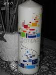 Taufkerze, klassische Form, buntes Mosaik