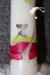 Kommunionkerze, rosa, Weinstock, Detail unten