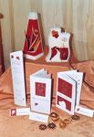 Sammlungsbeispiel, Karten und Kerzen, rot/weiß