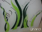 Hochzeitskerze, geschwungene Doppelform, Pflanzen mit Herz, Detail